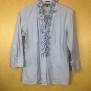 Talbots blouse, size 6, light blue and white.